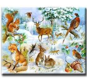 Diamanttavla Winter Forest Animals 50x70