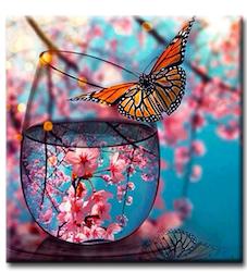 Diamanttavla Glass Butterfly 40x40