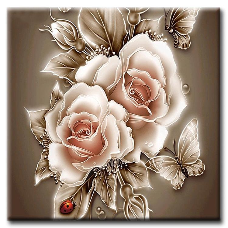 Diamanttavla (R) Rosa Rosor Med Fjärilar 50x50