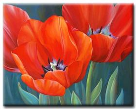 Diamanttavla Red Tulips 30x40