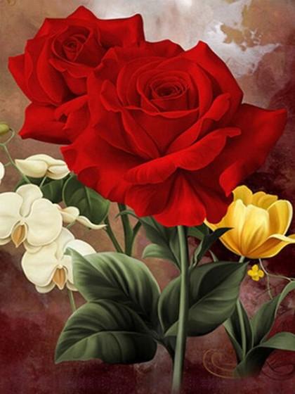 Diamanttavla Röda Rosor 40x50