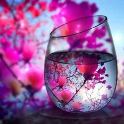 Diamanttavla Glass View Floral 40x40