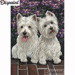 Diamanttavla Cute White Dogs 40x50