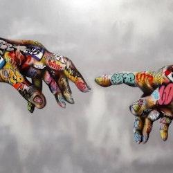 Diamanttavla Grafitti Hands 50x70 - Leveranstid 1-3 dagar