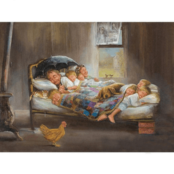 Diamanttavla Sleeping Family 50x70