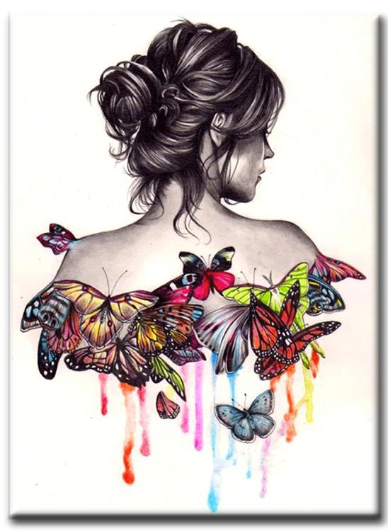 Diamanttavla Butterfly Girl 40x50
