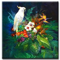Diamanttavla White Parrot 40x40 - Leveranstid 1-3 Dagar