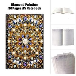 Diamanttavla Skrivbok Linjerad Mandala Pärlemo 50 sidor
