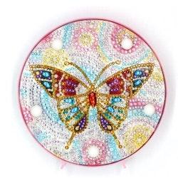 Diamanttavla Ledlampa Color Butterfly