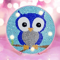 Diamanttavla Ledlampa Cute Owl