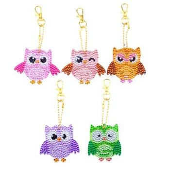 Nyckelringar Cute Owls 5-pack - Leveranstid 1-3 Dagar