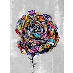Diamanttavla Grafitti Rose 50x70