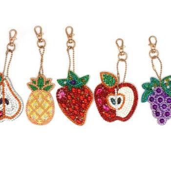 Nyckelringar Frukter  5-pack