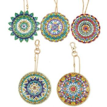 Nyckelringar Mandala  5-pack - Leveranstid 1-3 Dagar