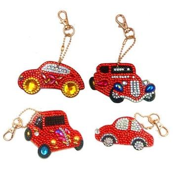 Nyckelringar Röda Bilar 4-pack