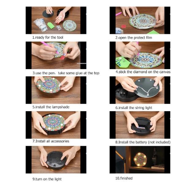Diamond Painting Ledlampa Uggla 15x15