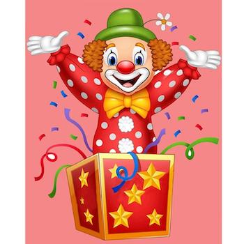 Diamanttavla (R) Clown In Box 40x50 - Leveranstid 1-3 Dagar