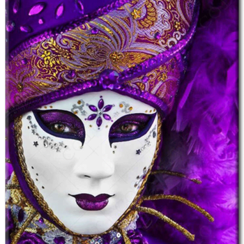Diamanttavla Mask Purlpe 40x50