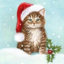 Diamanttavla Christmas Kitten 50x50