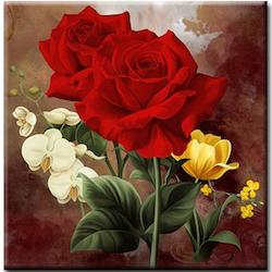 Diamanttavla Röda Rosor 50x50