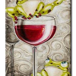 Diamanttavla Frog With Wine 30x60