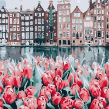 Paint By Numbers City Red Tulips 50x70