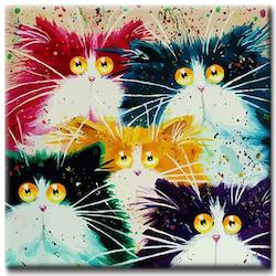 Diamanttavla (R) Color Cats 50x50
