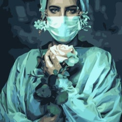 Paint By Numbers Nurse With Rose 50x70