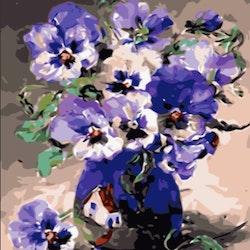 Paint By Numbers Blå Blommor I Kruka 40x50