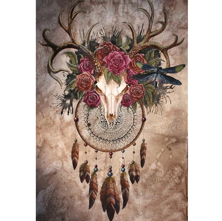 Diamanttavla (R) Deer Skull 50x70