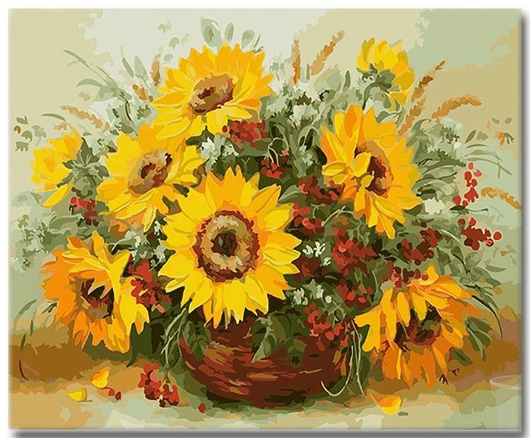 Paint By Numbers Solrosbukett 40x50
