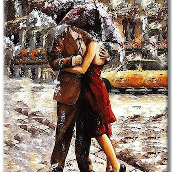 Paint By Numbers Lovers In Rain 40x50