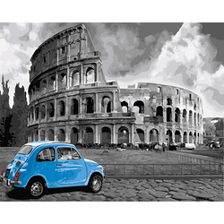 Paint By Numbers Blue Car 40x50