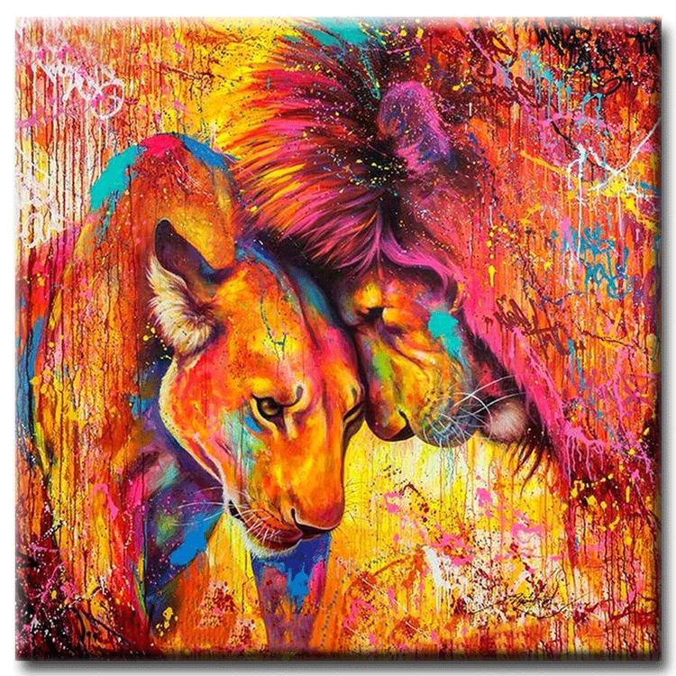 Diamanttavla Color Lion Love 50x50