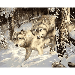 Paint By Numbers Wolves In Wood