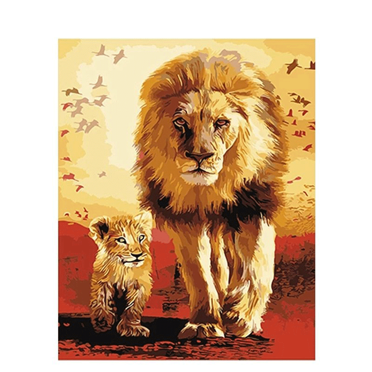 Paint By Numbers Lionking And Son 40x50