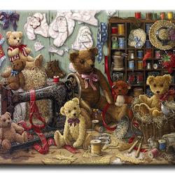 Diamanttavla (R) Teddybears Sewing 70x90