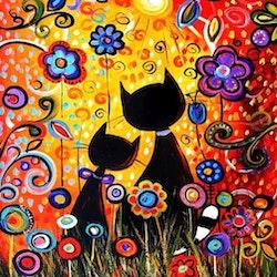 Diamanttavla Painted Flower Cats 40x40