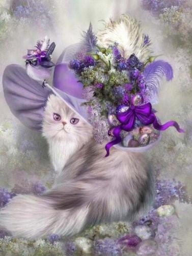 Diamanttavla Purple Cat In Hat 40x50
