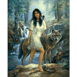 Diamanttavla (R) Wolf And Indian 70x90