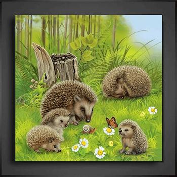 Diamanttavla Hedgehog Family 80x80