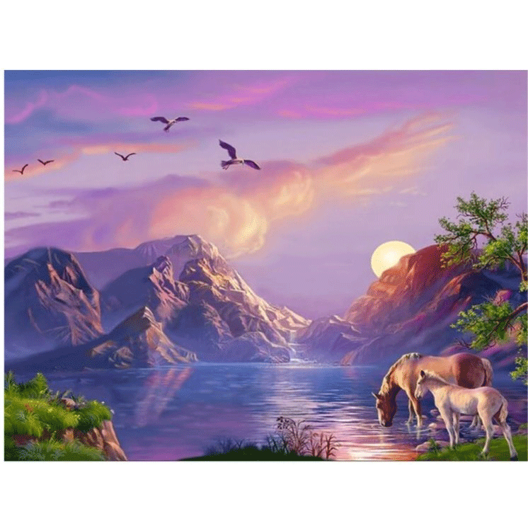 Diamanttavla Horses Mountain Lake 50x70