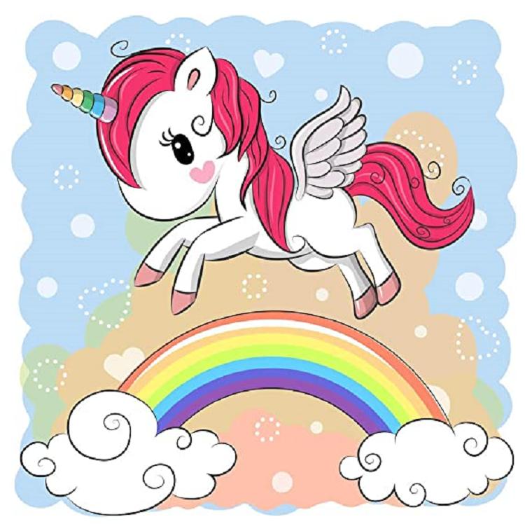 Diamanttavla  Cartoon Unicorn 30x30