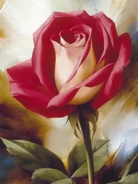 Diamanttavla (R) Rose Dark Pink 30x40