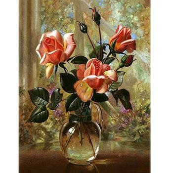 Diamanttavla Vackra Rosor I Glasvas 40x50