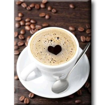 Diamanttavla Kaffe Hjärta 30x40