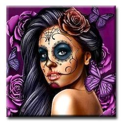 Diamanttavla Skull Girl Butterfly 50x50