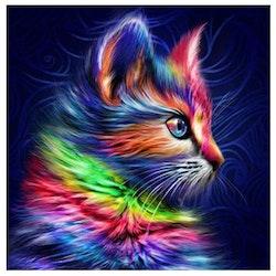 Diamanttavla Color Cat Dark 40x40