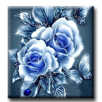 Diamanttavla Roses And Butterflies Blue 50x50