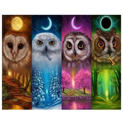 Diamanttavla Four Season Owl 50x70